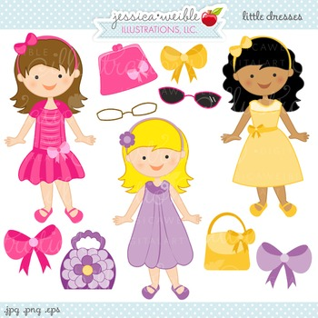 Little girl dress up clipart png download Little Dresses Cute Digital Clipart, Dress Up Girls Clip Art png download