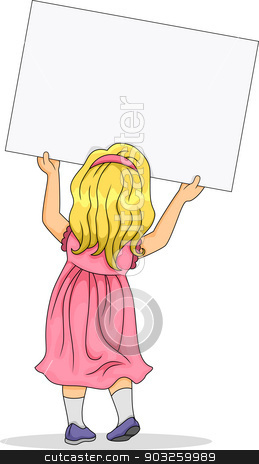 Little girl from back illustration clipart vector jpg library library Back View of Little Girl Carrying a Blank Board stock vector jpg library library