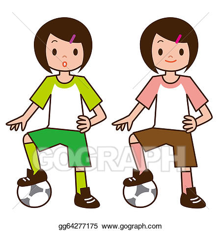 Little girl playing soccer clipart clip freeuse stock Stock Illustration - Little girl playing football. Clipart ... clip freeuse stock