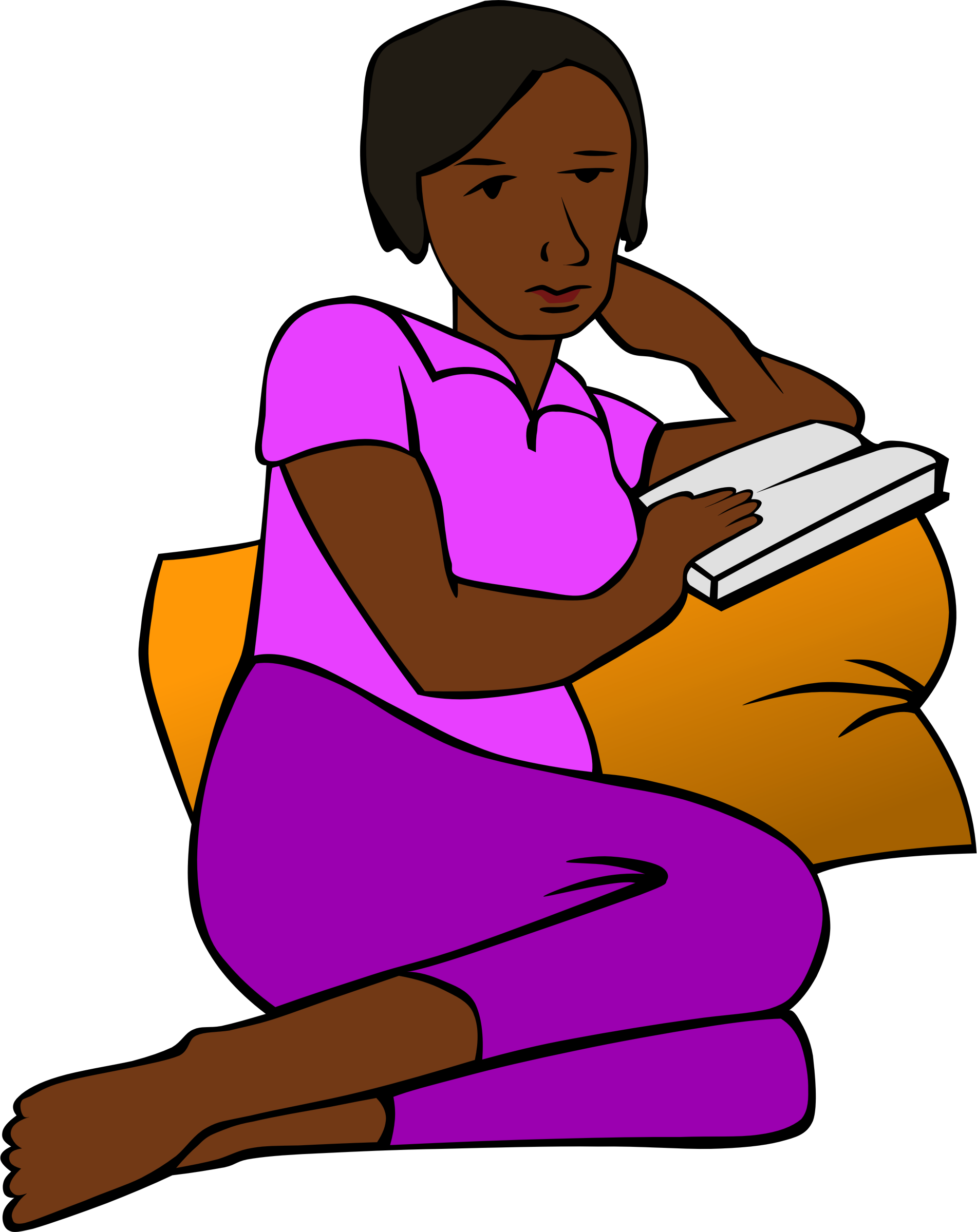 Little girl reading a book clipart vector library stock Clipart - African Woman Reading more colour vector library stock