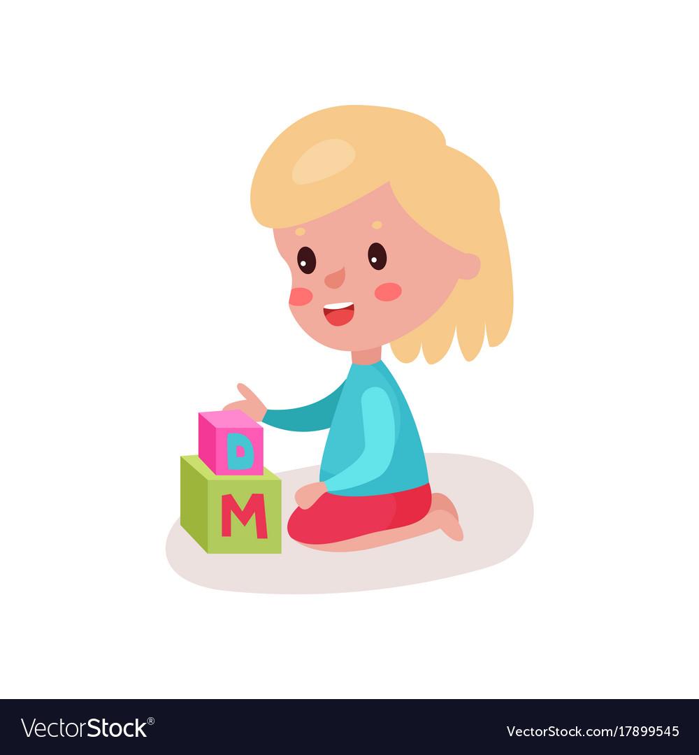 Little girl sitting on the floor clipart