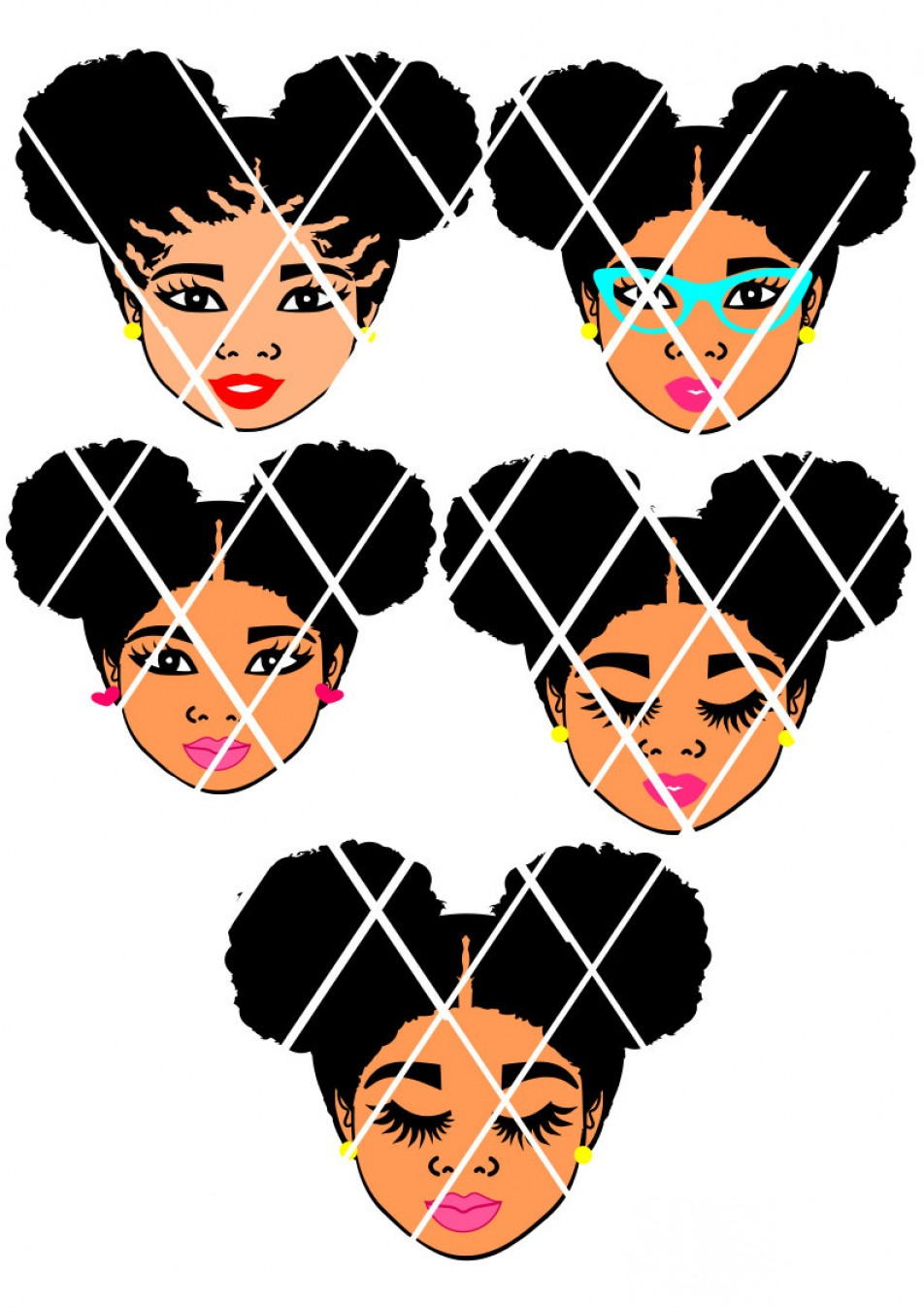 Marvelous Library Of Little Girl With Afro Puffs Vector Royalty Free Stock Natural Hairstyles Runnerswayorg