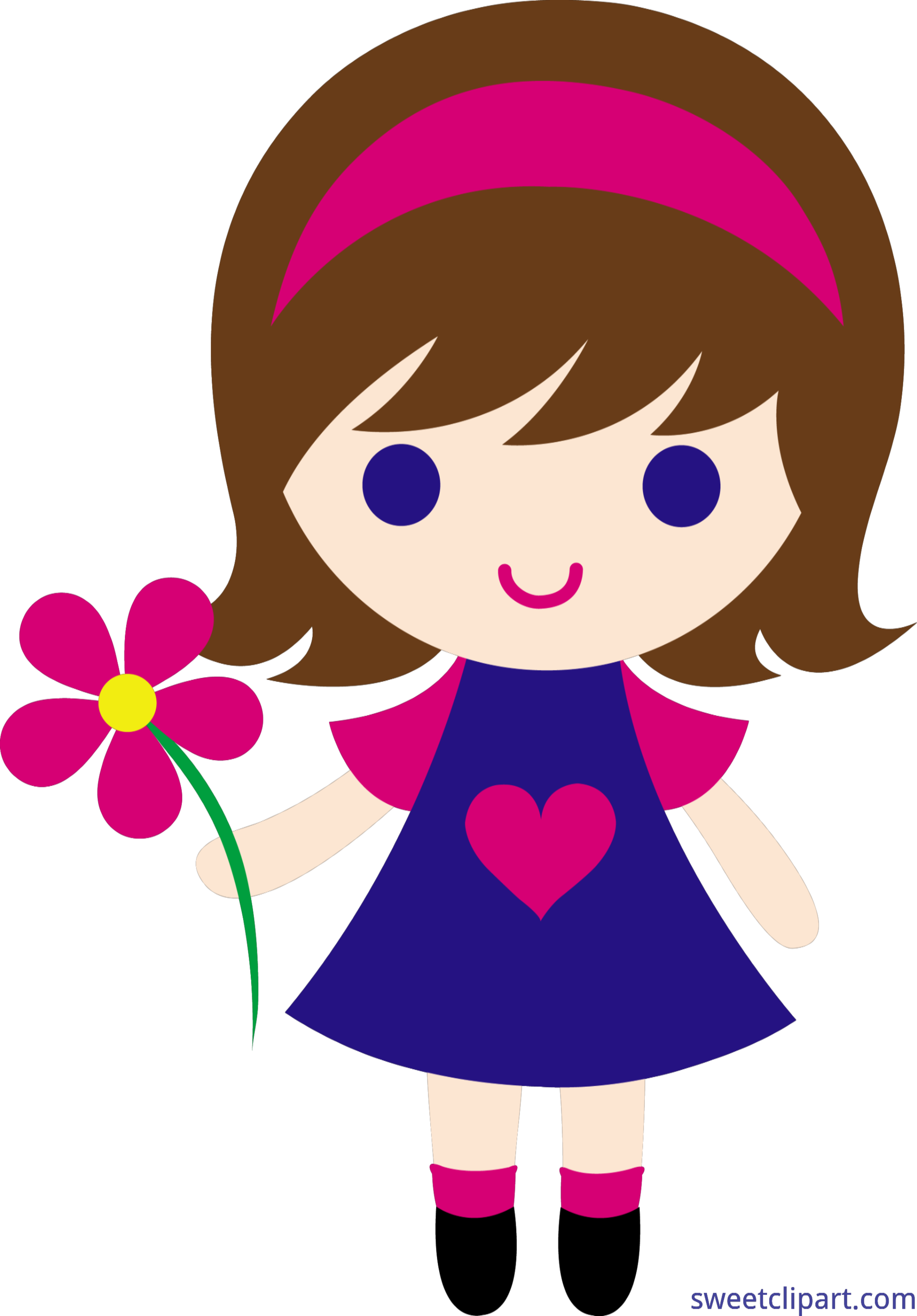 Little girl with flowers clipart png library Little Girl Flower Clip Art - Sweet Clip Art png library