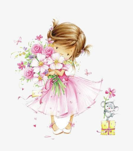 Little girl with flowers clipart graphic free download Hand Drawn Illustration Of A Little Girl Holding A Flower PNG ... graphic free download