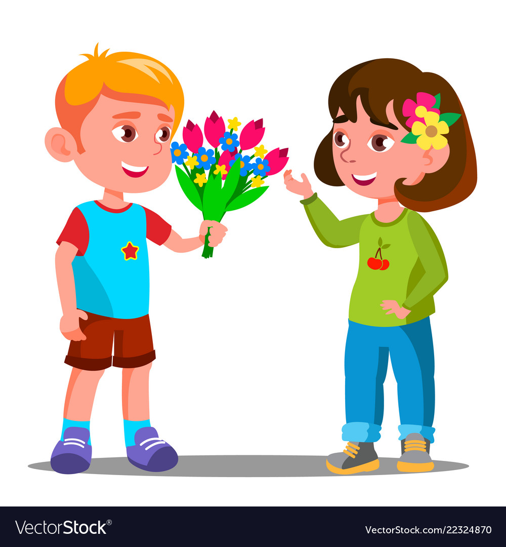 Little girl with flowers clipart black and white download Little boy gives the flowers to the little girl black and white download