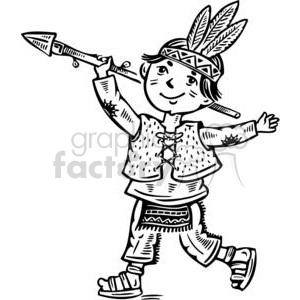 Little indian clipart png library stock boy dressed up like an indian clipart. Royalty-free clipart # 381522 png library stock