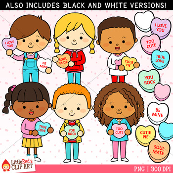 Little individual kids clipart black and white banner royalty free download Valentine\'s Day Clip Art Candy Heart Kids banner royalty free download