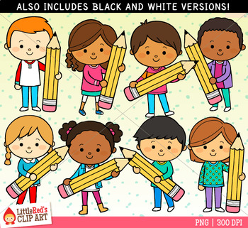 Little individual kids clipart black and white jpg free library Pencil Kids Clip Art jpg free library