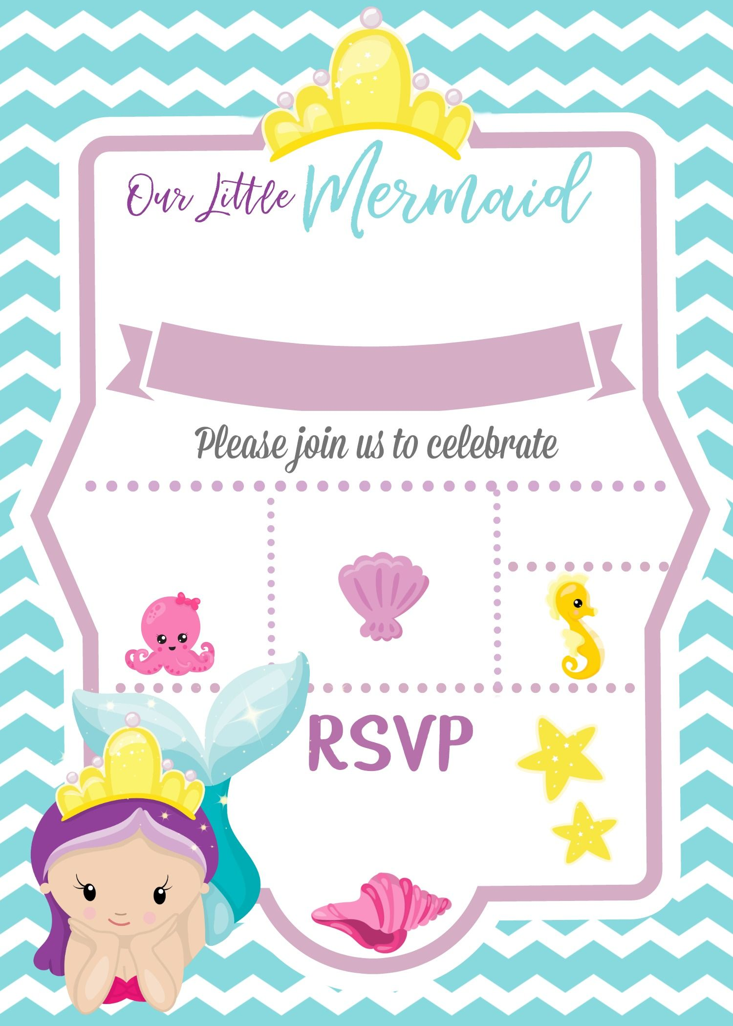 Little mermaid invitation cliparts svg black and white download Mermaid Under the Sea Invitation | How to with PicMonkey ... svg black and white download