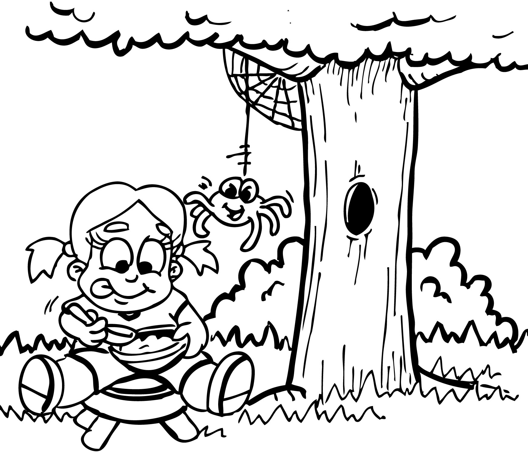 Little miss muffet clipart black and white
