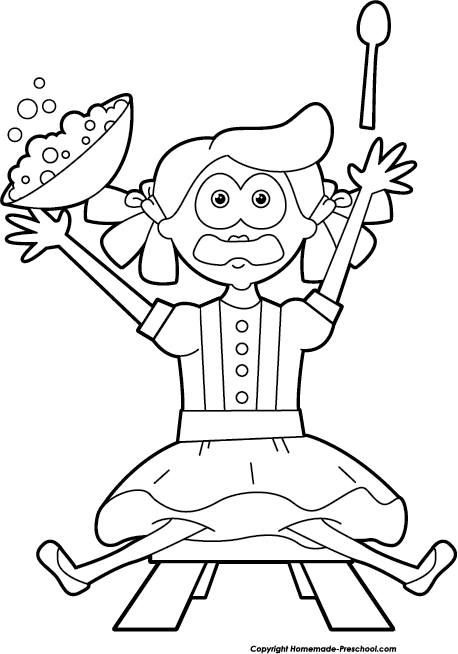 Little miss muffet clipart black and white svg free Free Nursery Rhymes Clipart svg free