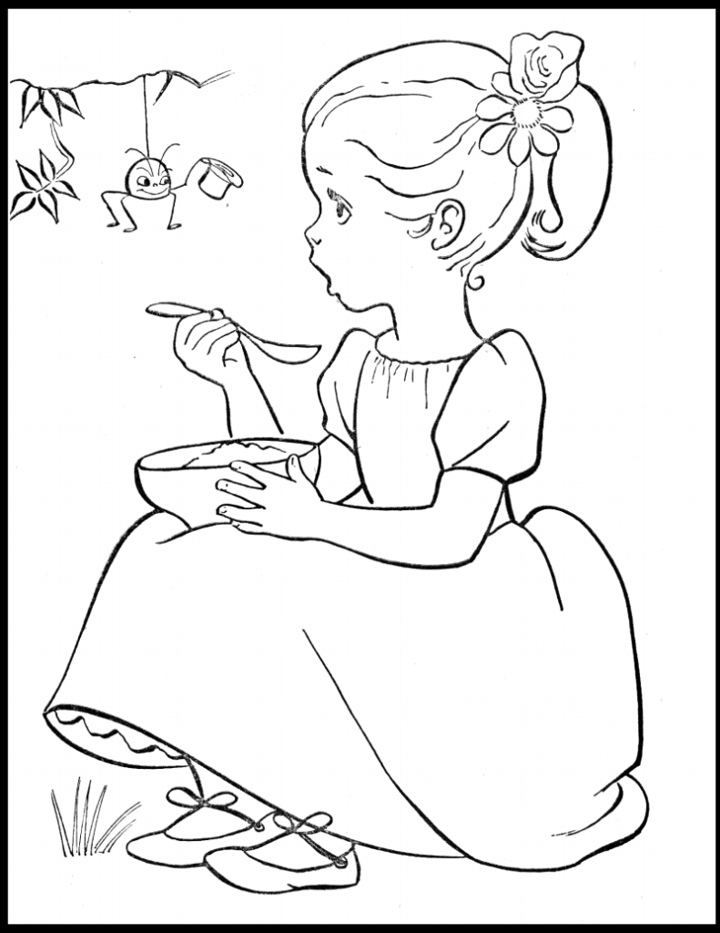 Little miss muffet clipart black and white graphic Little Miss Muffet Coloring Page | k2h graphic