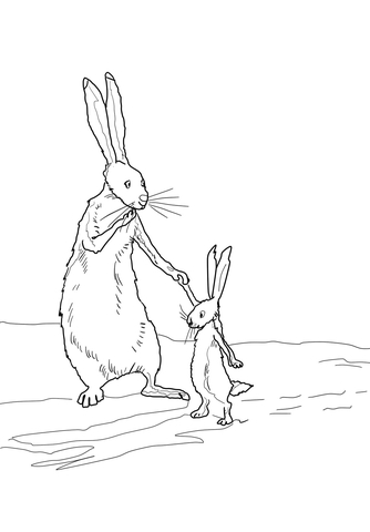 Little nutbrown hare clipart svg free library Little Nutbrown Hare and Big Nutbrown Hare coloring page | Free ... svg free library
