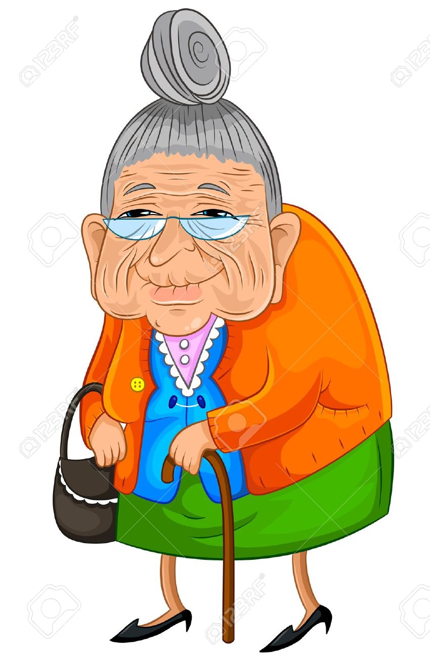 Little old lady and little old man clipart image black and white stock Cartoon Of Old Lady Group with 68+ items image black and white stock