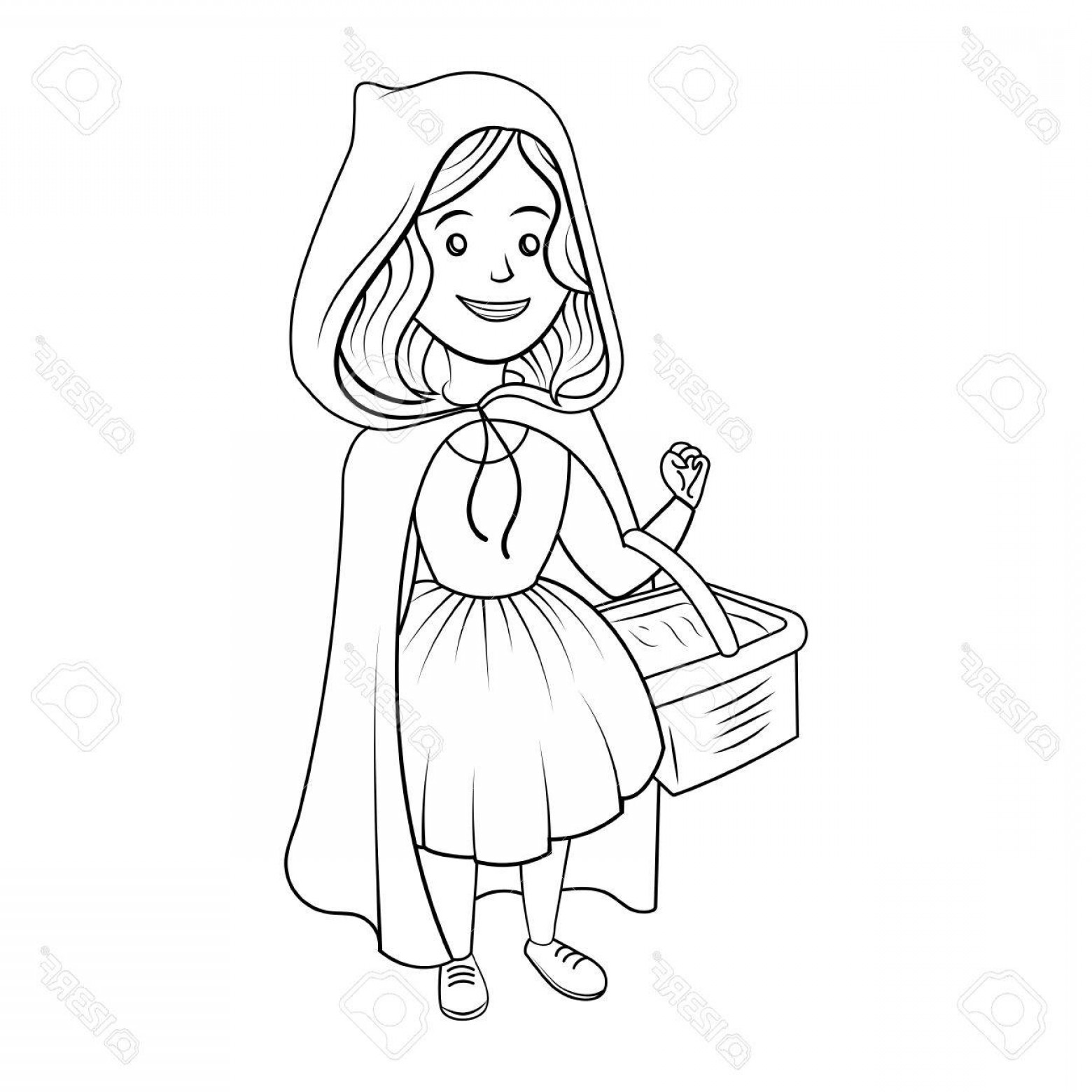 Red riding hood clipart black and white vector transparent stock Photostock Vector Little Red Riding Hood Coloring Book Vector | SOIDERGI vector transparent stock