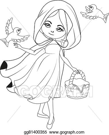 Little red riding hood book clipart black and white royalty free download Vector Stock - Coloring book: red riding hood. Clipart Illustration ... royalty free download