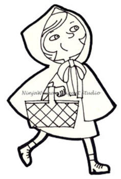 Little red clipart black and white graphic black and white stock Little Red Riding Hood Clip Art graphic black and white stock