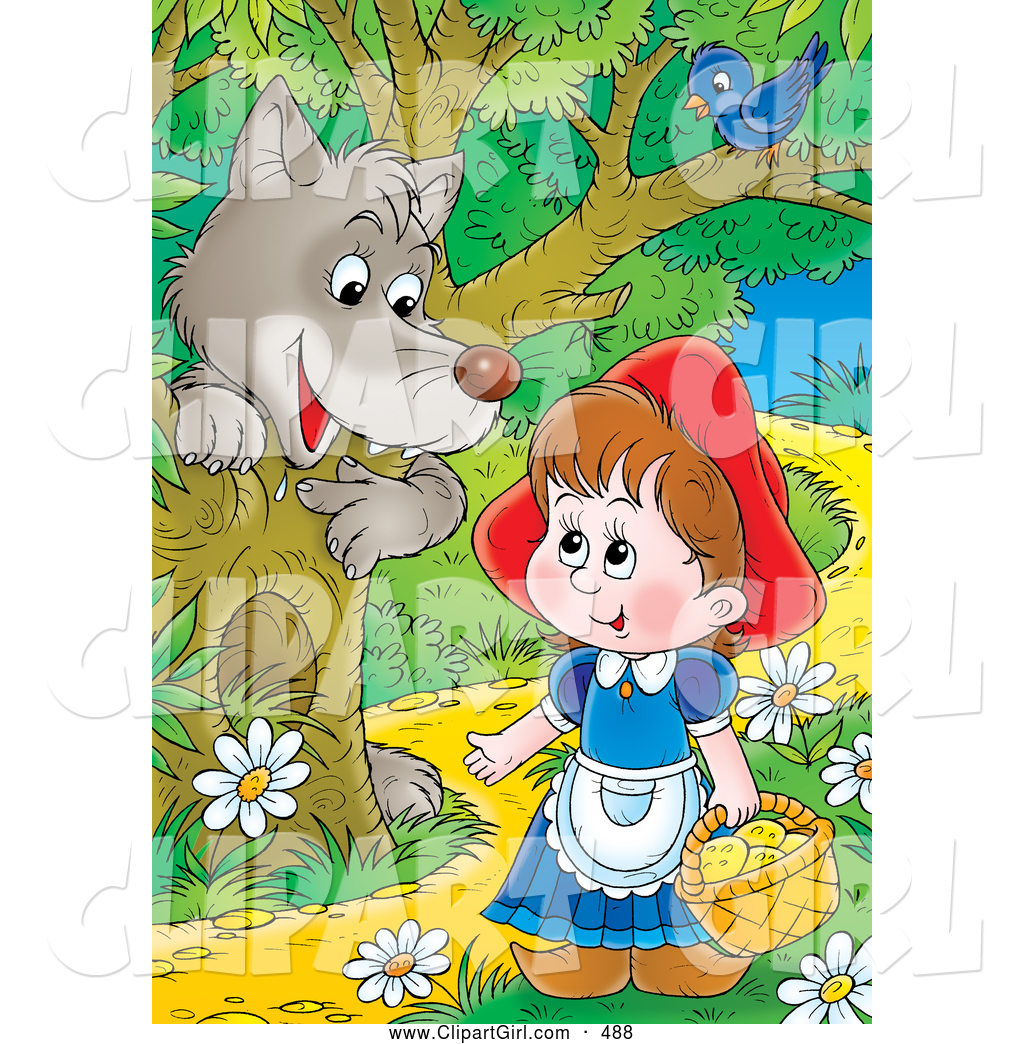 Little red riding hood path clipart clipart stock Clip Art of a Gray Wolf Emerging Behind a Tree Under a Bird ... clipart stock