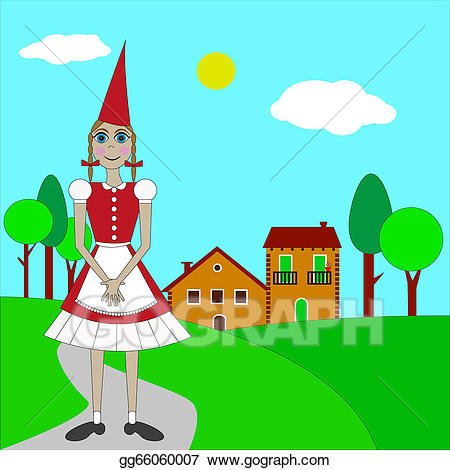 Little red riding hood path clipart clipart black and white Vector Stock - Little red riding hood. Clipart Illustration ... clipart black and white