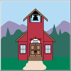 Little red schoolhouse clipart image library stock Clip Art: Little Red Schoolhouse Color I abcteach.com | abcteach image library stock