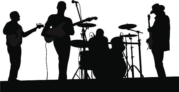 Live band clipart banner library Live Band Vector Silhouette Vector Art Illustration - 315*612 - Free ... banner library