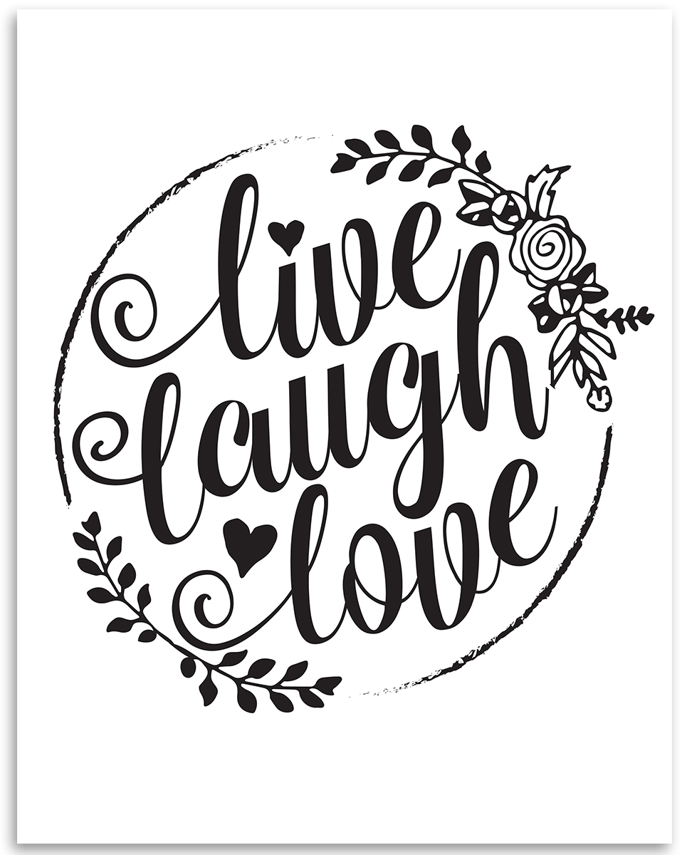 Live love laugh clipart black and white clipart download Live Love Laugh - 11x14 Unframed Art Print - Great Wedding Gift ... clipart download