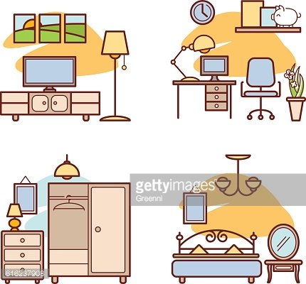 Living and working in clipart graphic royalty free download Home Room Living Room, Bedroom, Work Space premium clipart ... graphic royalty free download