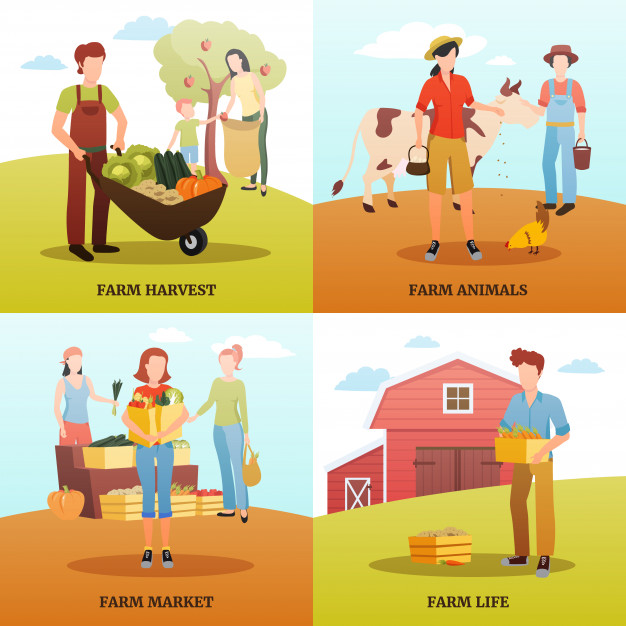 Living and working in clipart image freeuse library Flat design 2x2 design concept with families living and working on ... image freeuse library
