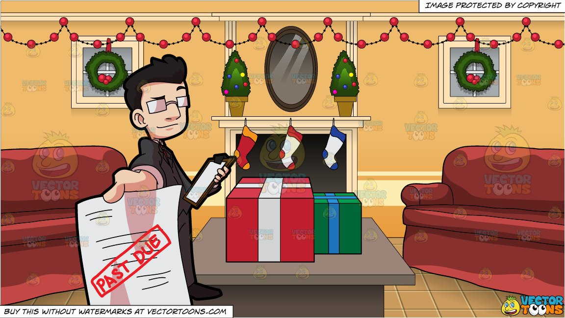 Living in the past clipart svg free A Bill Collector Delivering A Past Due Notice and A Living Room Decorated  For Christmas svg free