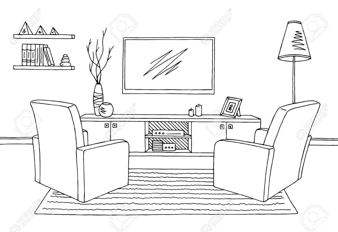 Living room clipart black and white clipart Clipart black and white living room 9 » Clipart Portal clipart