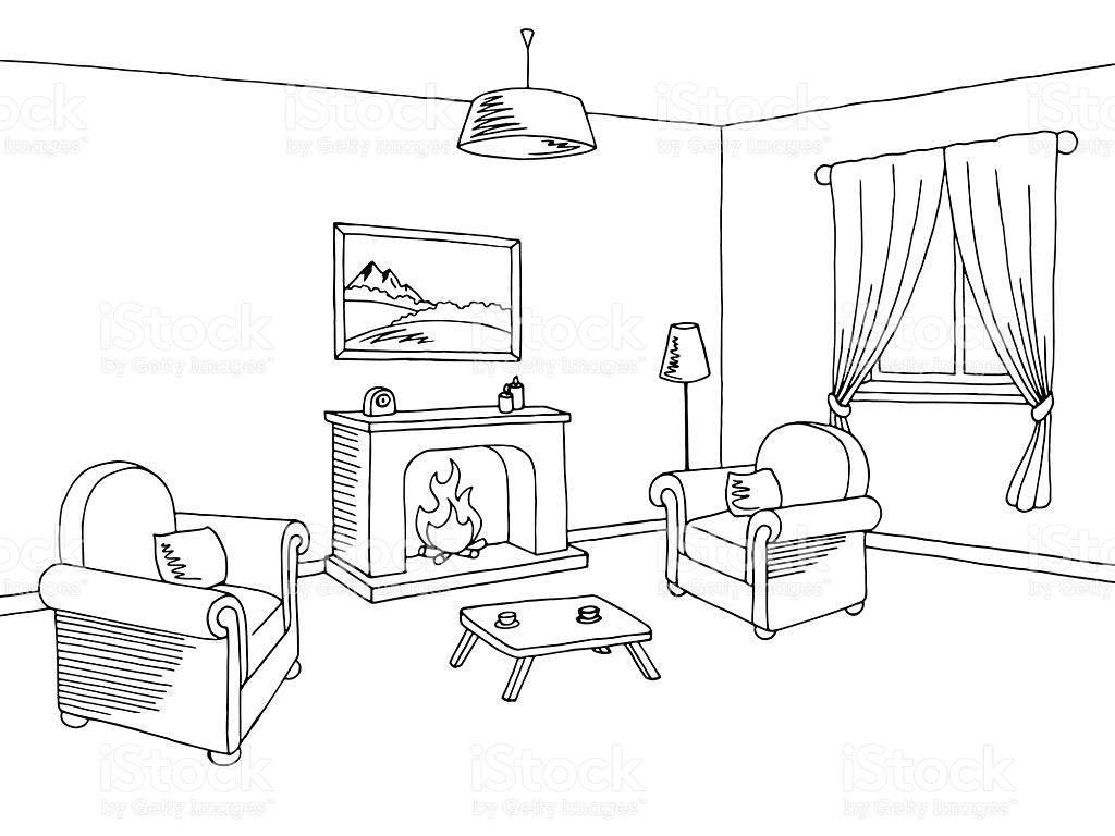 Living room clipart black and white clip library library Living room clipart black and white 9 » Clipart Station clip library library