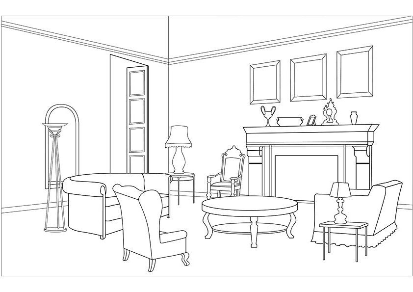 Living room clipart black and white svg library download Living room coloring pages download and print for free | coloring ... svg library download
