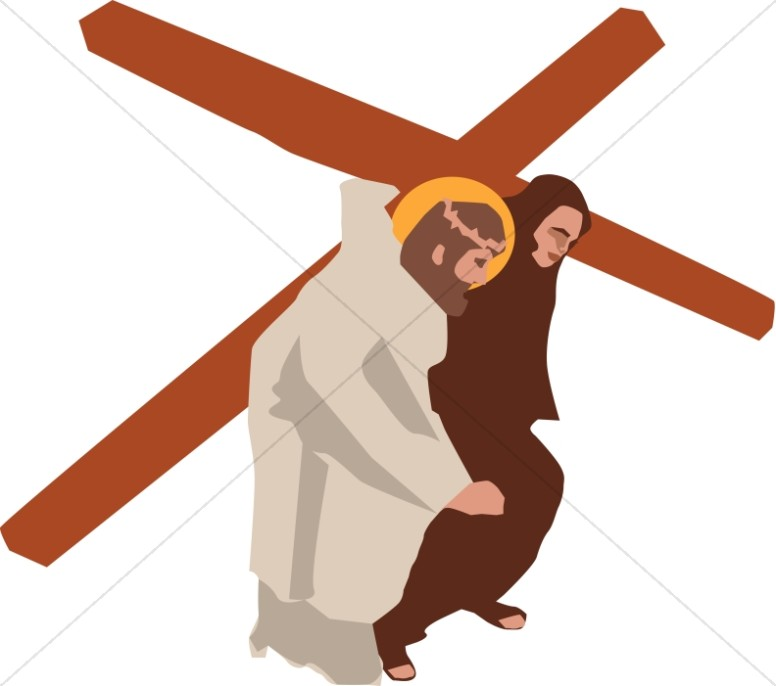 Living stations of the cross clipart image freeuse Simon of Cyrene Taking the Cross | Stations of the Cross Clipart image freeuse