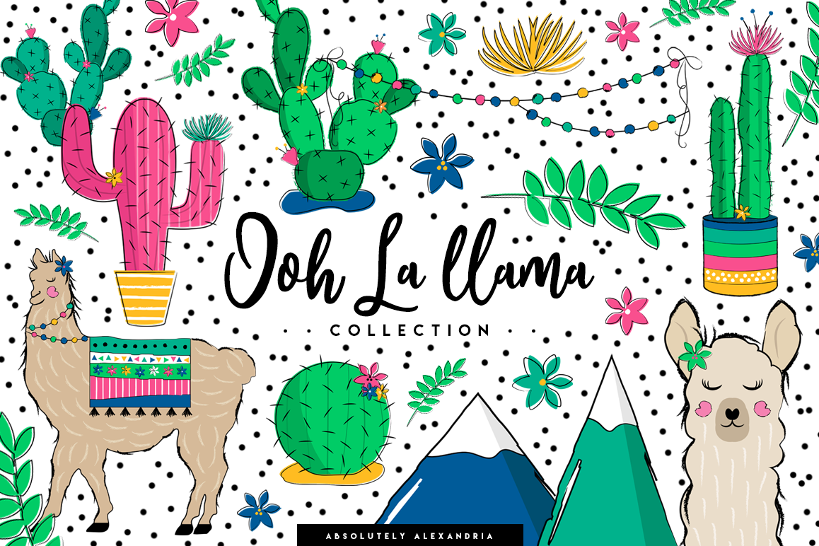 Llama clipart images clip freeuse download Ooh La llama Clipart Illustrations & Seamless Digital Papers clip freeuse download