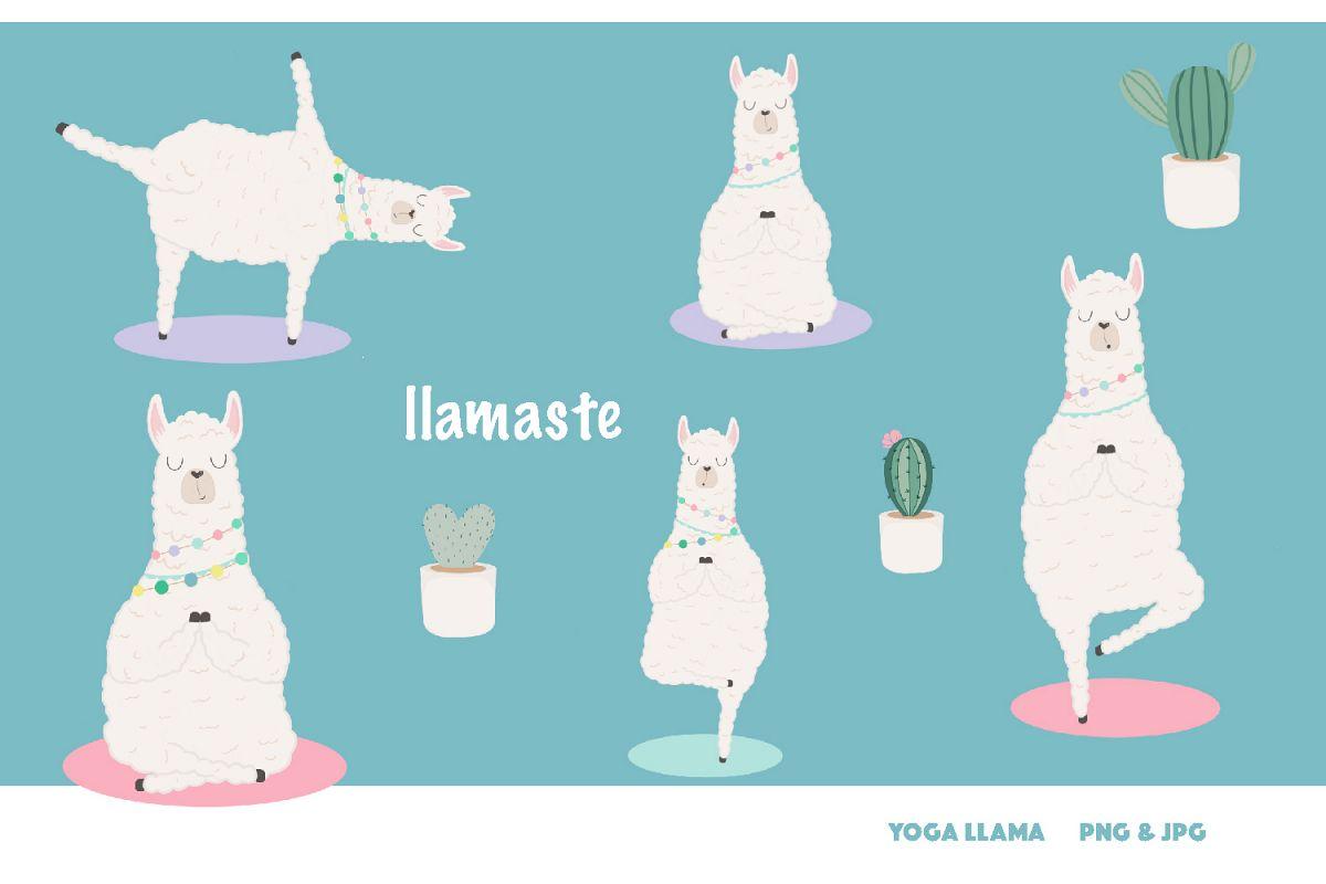 Llama clipart png graphic royalty free stock Llamaste! Yoga llama clipart set - 300 dpi, png, jpg graphic royalty free stock