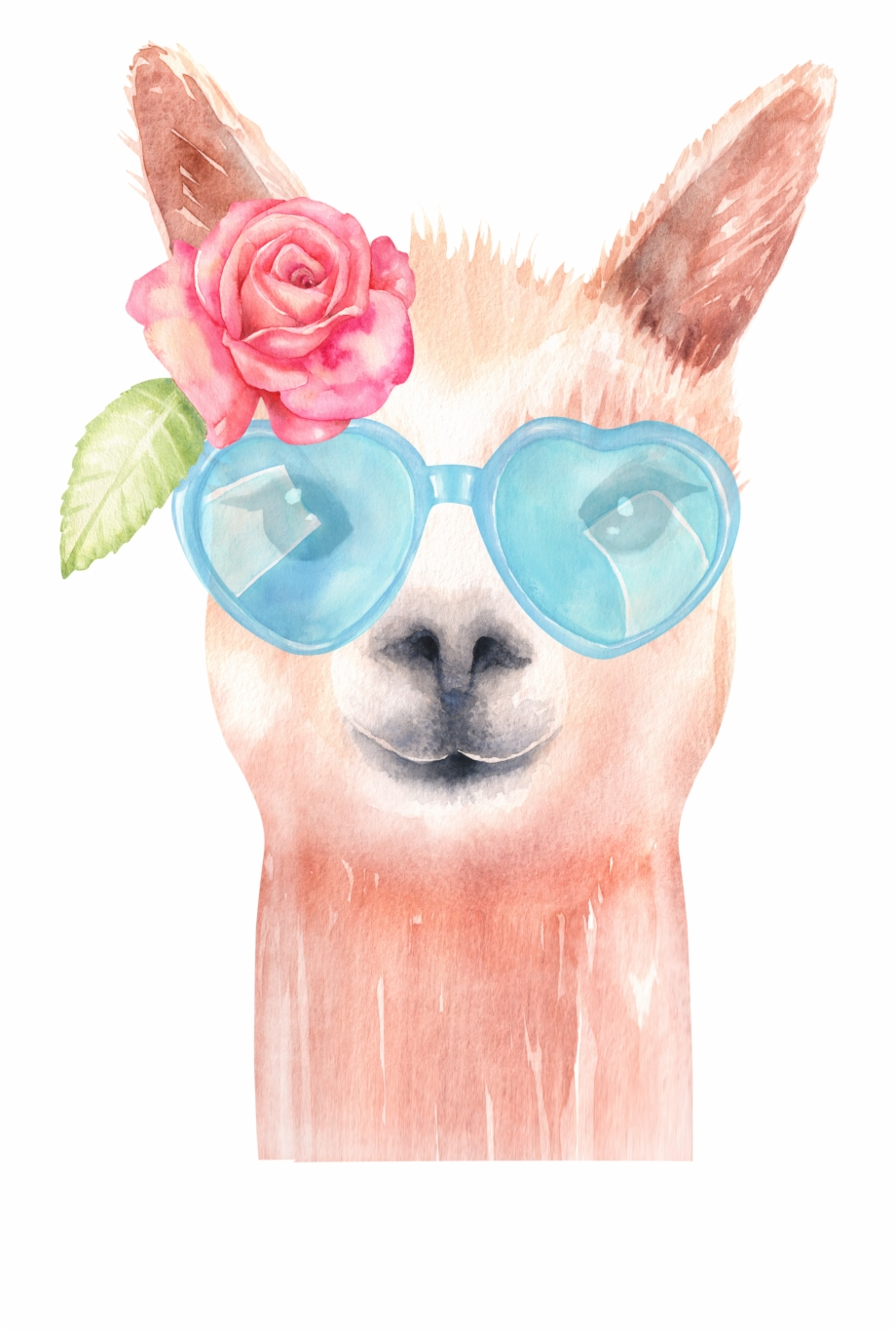 Llama head clipart with out background royalty free stock Watercolor Alpaca, Original Handmade Llama Illustrations ... royalty free stock