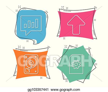 Load cliparts c banner freeuse download Vector Clipart - Hdd, analytical chat and upload icons. file ... banner freeuse download