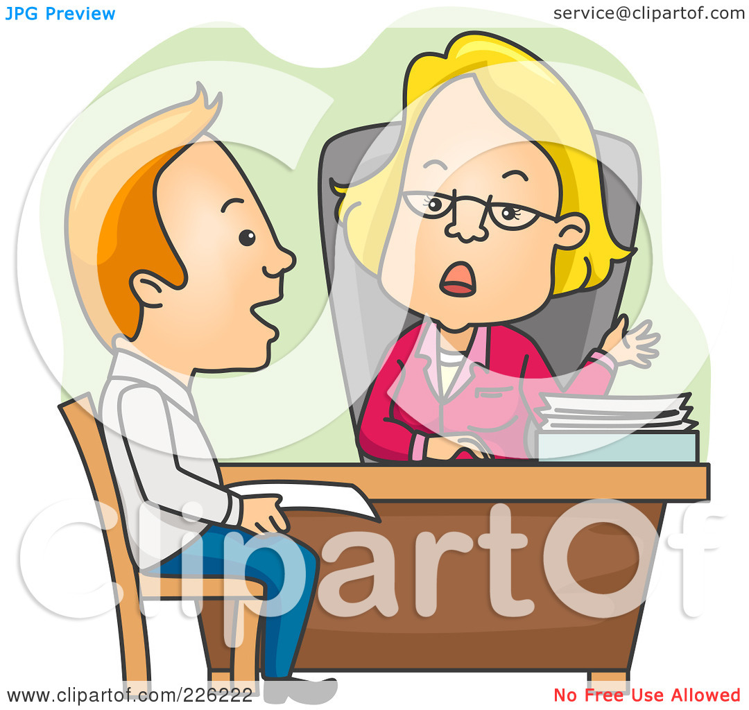 Loan officer clipart picture black and white Royalty-Free (RF) Clipart Illustration of a Man Applying For A ... picture black and white