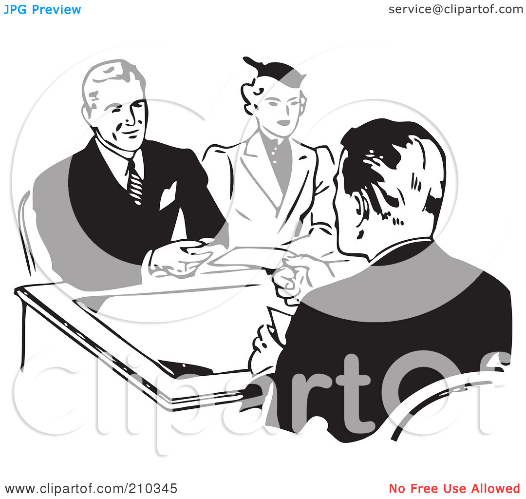 Loan officer clipart clip freeuse Royalty-Free (RF) Clipart Illustration of a Retro Black And White ... clip freeuse