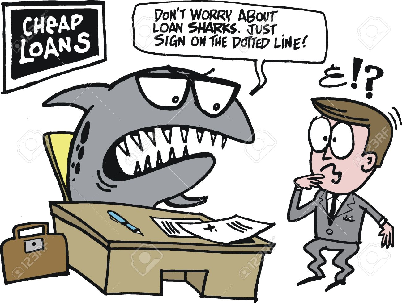 Loan shark clipart clip download Cartoon Of Loan Shark At Desk In Office Royalty Free Cliparts ... clip download