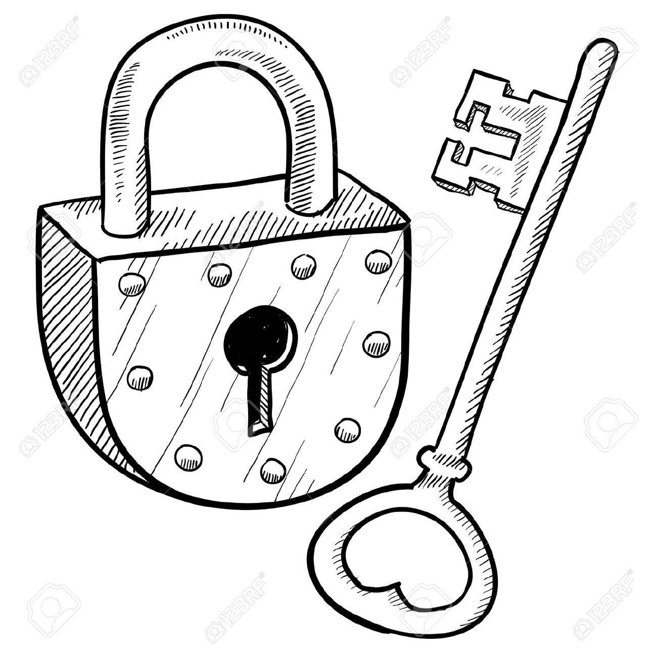 Lock and key clipart black and white picture black and white library Padlock Stock Illustrations, Cliparts And Royalty Free Padlock ... picture black and white library