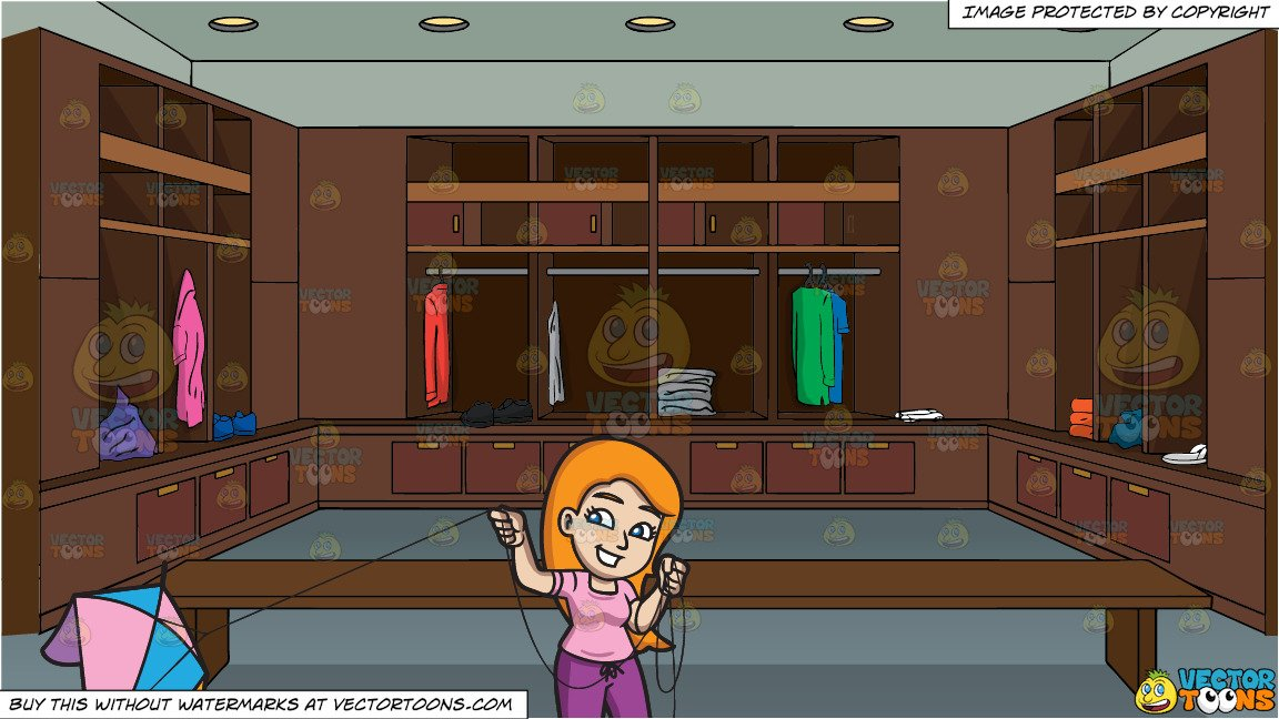 Locker room clipart vector library A Woman About To Fly A Kite and A Small Locker Room Of A Private Club  Background vector library