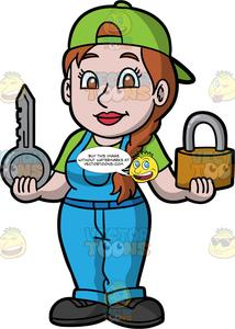 Locksmith clipart free download A Female Locksmith Holding A Big Lock And Key free download