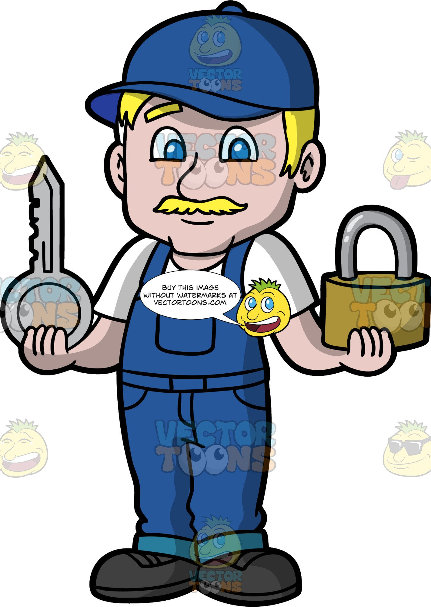 Locksmith clipart clip stock A Male Locksmith Holding A Big Lock And Key clip stock