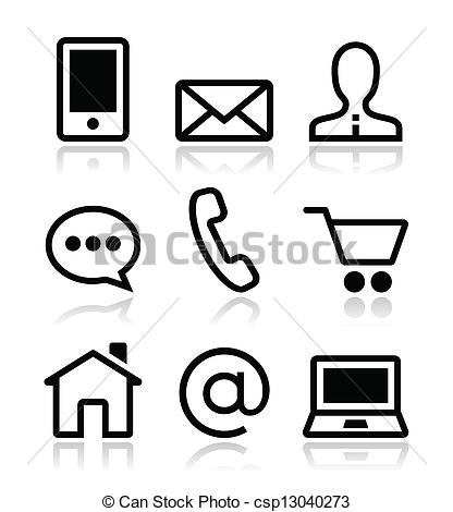 Logo clipart website banner library Vectors Illustration of Contact web vector icons set - Icons set ... banner library