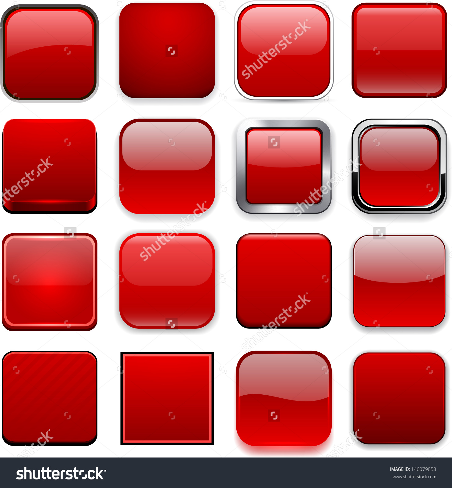 Logo clipart website picture free stock Set Blank Red Square Buttons Website Stock Vector 146079053 ... picture free stock