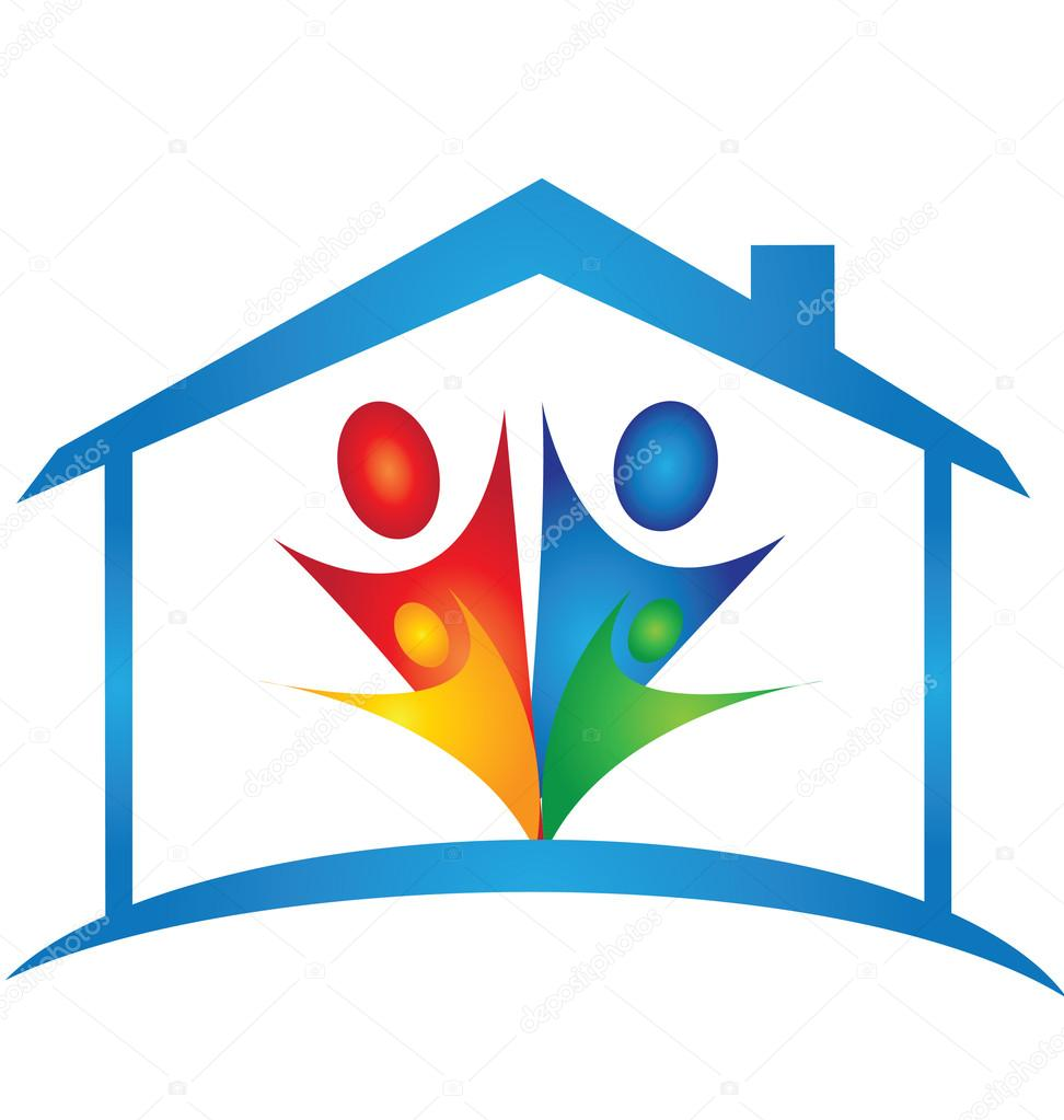 Logo familia clipart clipart freeuse download Familia En Un Nuevo Vector Logo De Casa — Vector Stock ... clipart freeuse download