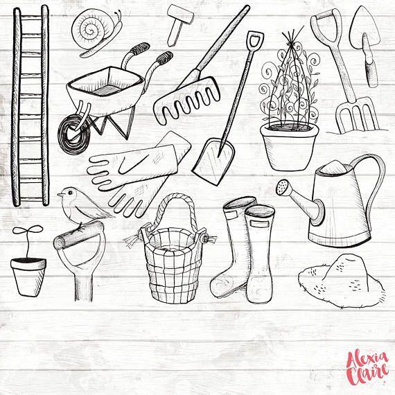 Logo grab clipart graphic free stock Gardening Clipart - 17 Hand Drawn Gardening - Gardening Logo ... graphic free stock