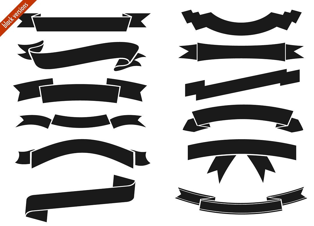 Logo ribbon clipart clip Digital ribbons #black#white#versions#Vector | Wordpress ... clip