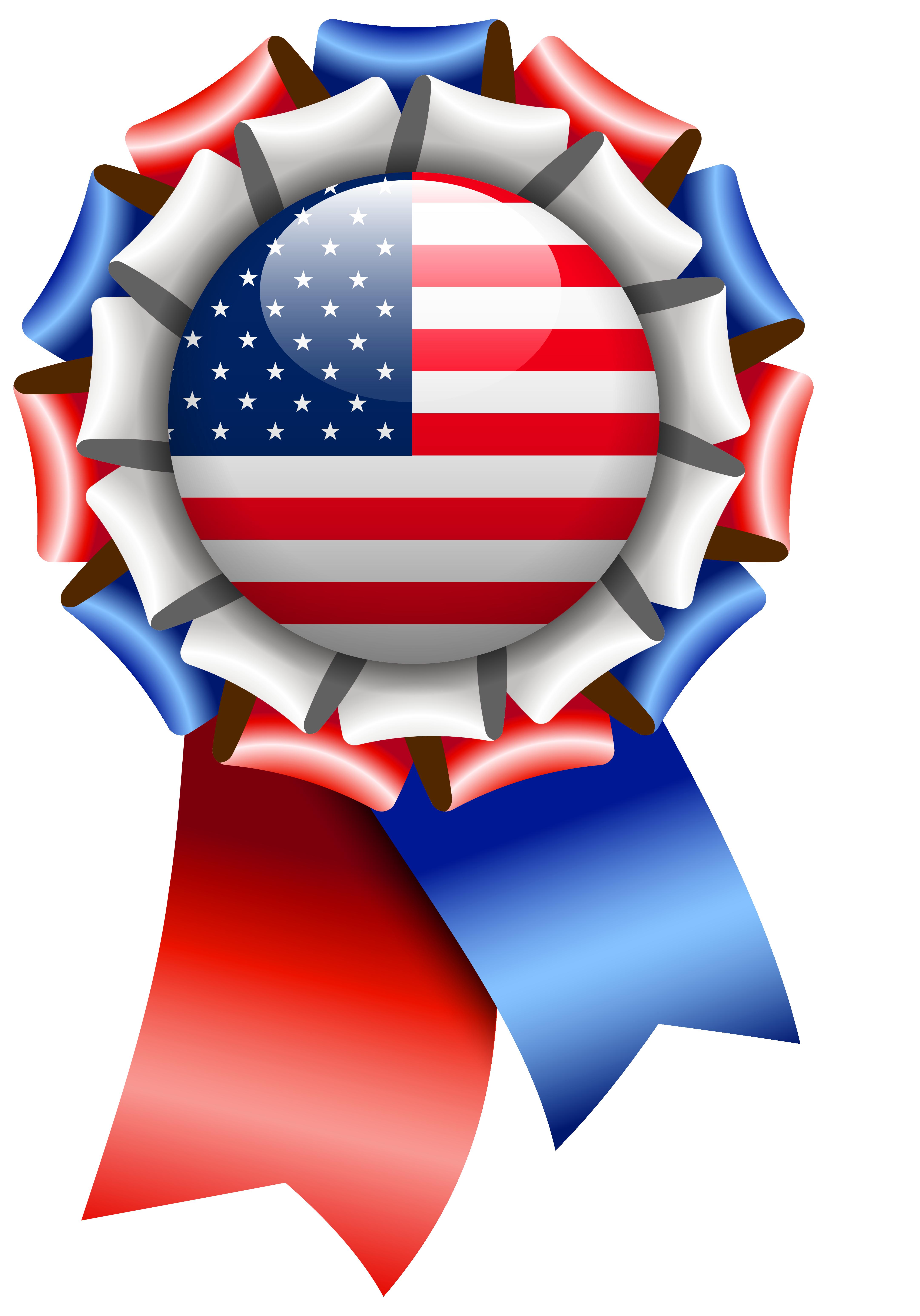 Logo ribbon clipart png jpg royalty free USA Flag Rosette Ribbon PNG Clipart Image jpg royalty free